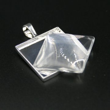 1pce x 25*25mm make your own pendant kit - square - silver plated - c8008082